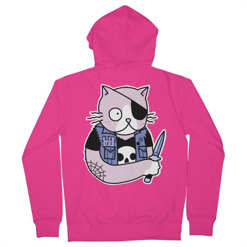 KNIFE CAT PINK Men's French Terry Zip-Up Hoody by Tittybats