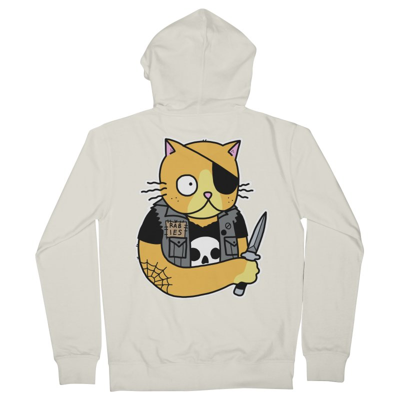 KNIFE CAT ORANGE Men's French Terry Zip-Up Hoody by Tittybats