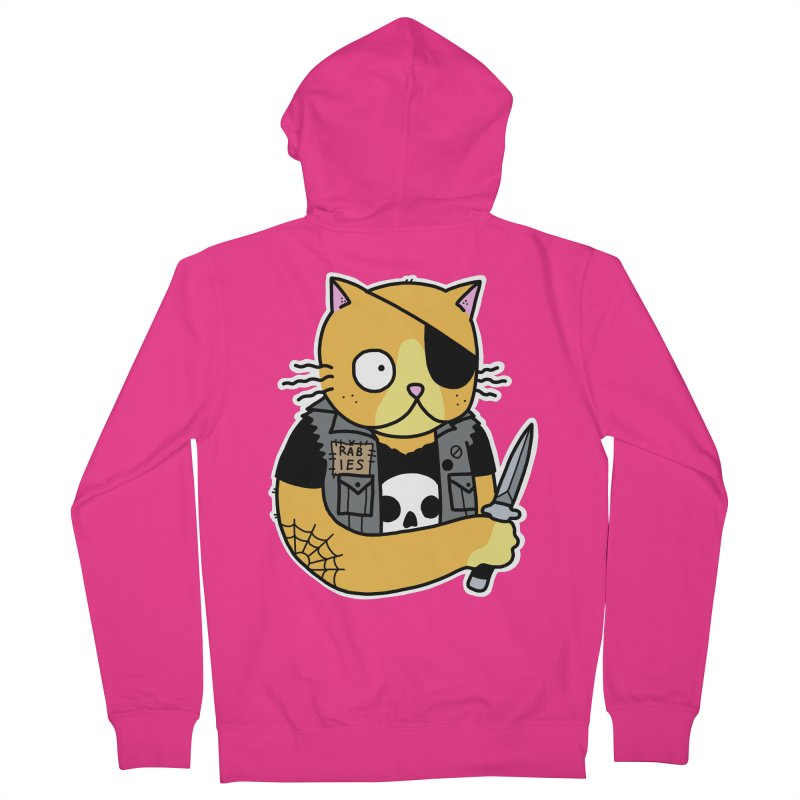 KNIFE CAT ORANGE Men's French Terry Zip-Up Hoody by Tittybats's Artist Shop