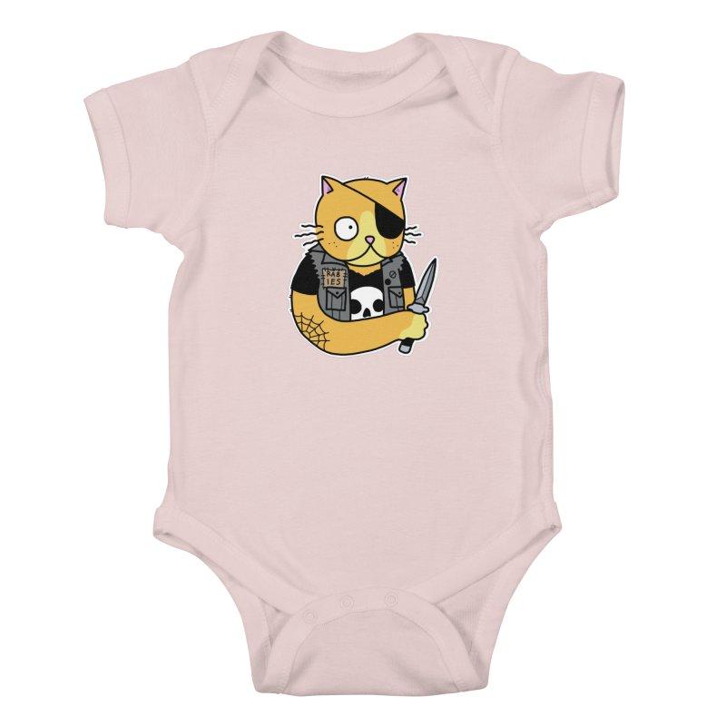 KNIFE CAT ORANGE Kids Baby Bodysuit by Tittybats's Artist Shop