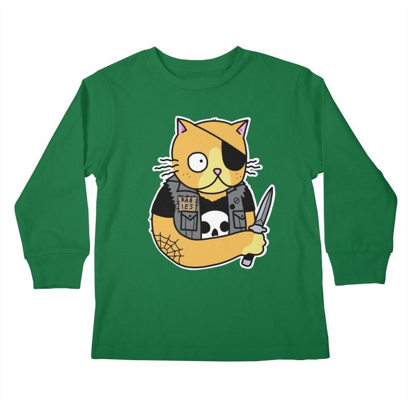 KNIFE CAT ORANGE Kids Longsleeve T-Shirt by Tittybats's Artist Shop