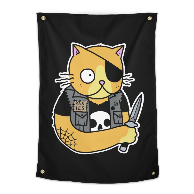 KNIFE CAT ORANGE Home Tapestry by Tittybats's Artist Shop