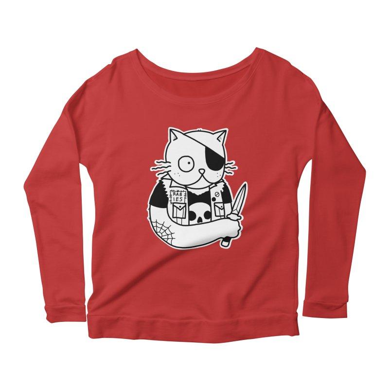 KNIFE CAT Women's Scoop Neck Longsleeve T-Shirt by Tittybats's Artist Shop