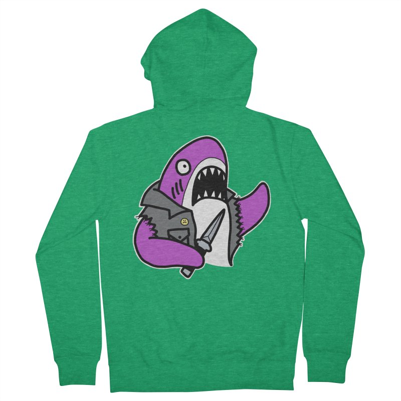 STAB SHARK PINK Men's Zip-Up Hoody by Tittybats