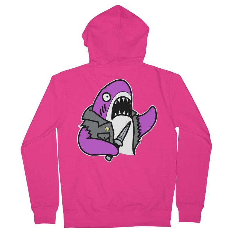 STAB SHARK PINK Men's French Terry Zip-Up Hoody by Tittybats