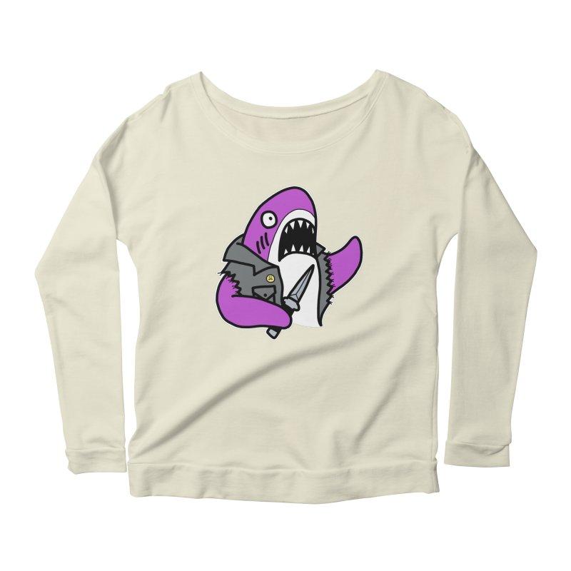 STAB SHARK PINK Women's Scoop Neck Longsleeve T-Shirt by Tittybats's Artist Shop