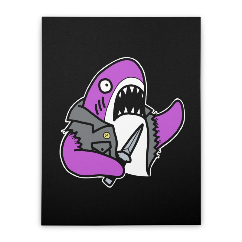 STAB SHARK PINK Home Stretched Canvas by Tittybats's Artist Shop