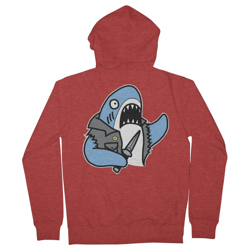 STAB SHARK BLUE Women's French Terry Zip-Up Hoody by Tittybats's Artist Shop