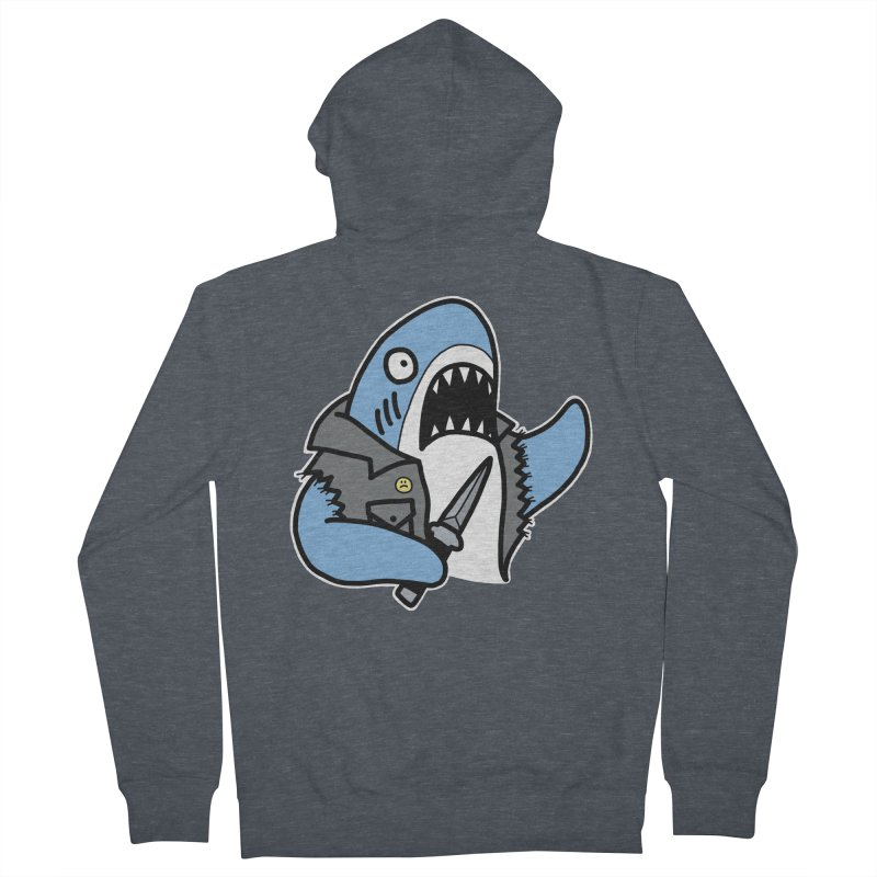 STAB SHARK BLUE Men's French Terry Zip-Up Hoody by Tittybats