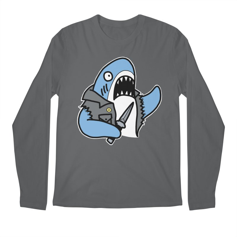 STAB SHARK BLUE Men's Regular Longsleeve T-Shirt by Tittybats