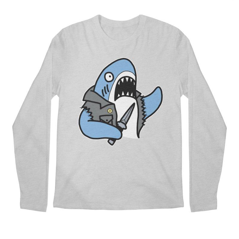 STAB SHARK BLUE Men's Regular Longsleeve T-Shirt by Tittybats's Artist Shop