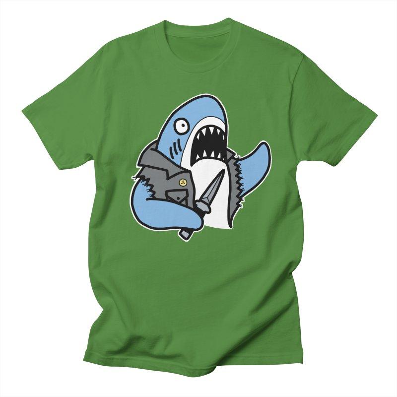 STAB SHARK BLUE Men's Regular T-Shirt by Tittybats
