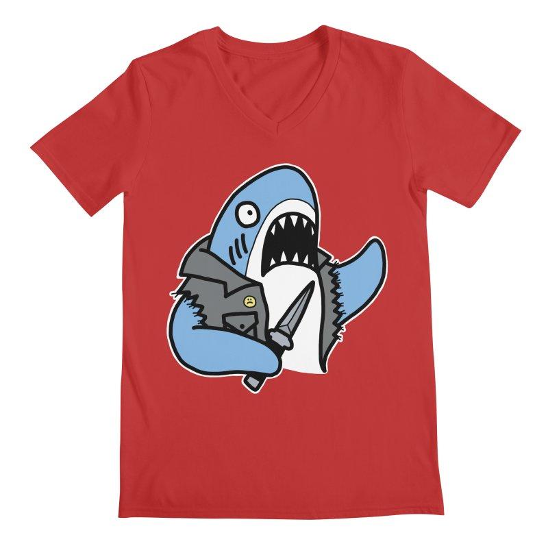 STAB SHARK BLUE Men's Regular V-Neck by Tittybats's Artist Shop