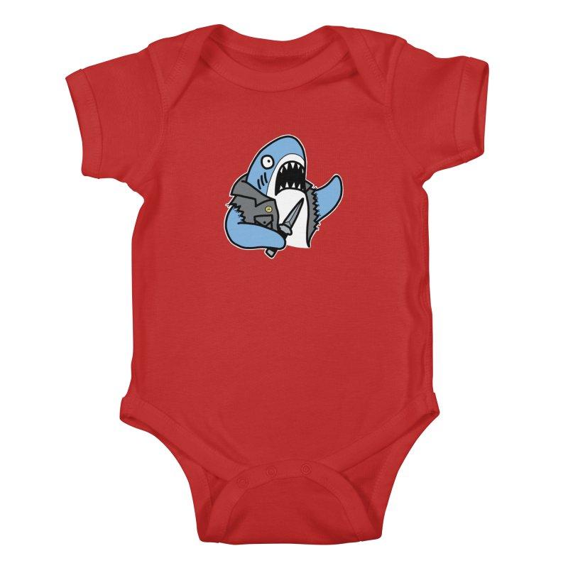 STAB SHARK BLUE Kids Baby Bodysuit by Tittybats's Artist Shop