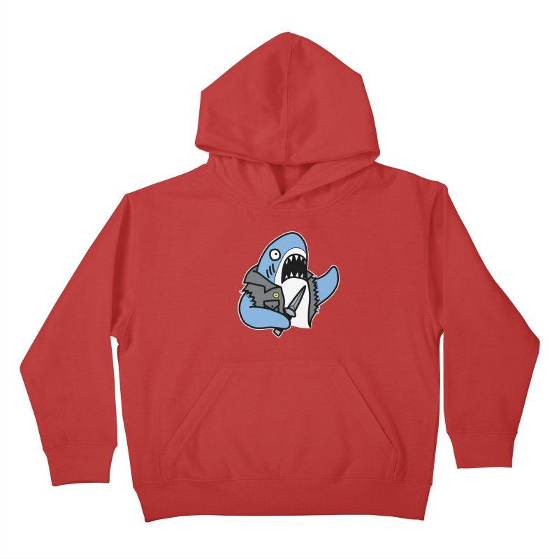 STAB SHARK BLUE Kids Pullover Hoody by Tittybats's Artist Shop