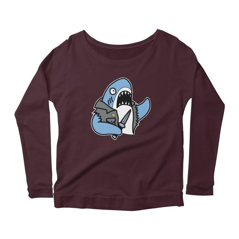 STAB SHARK BLUE Women's Scoop Neck Longsleeve T-Shirt by Tittybats's Artist Shop