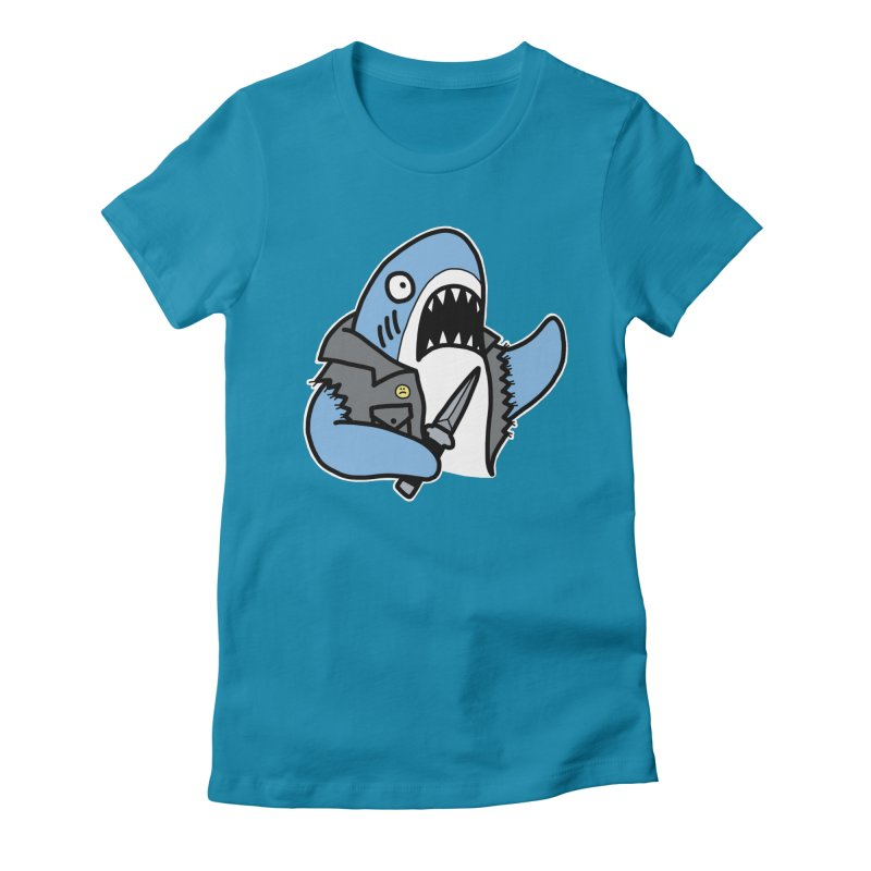 STAB SHARK BLUE Women's Fitted T-Shirt by Tittybats