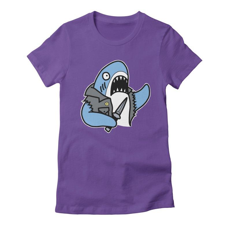 STAB SHARK BLUE Women's Fitted T-Shirt by Tittybats's Artist Shop