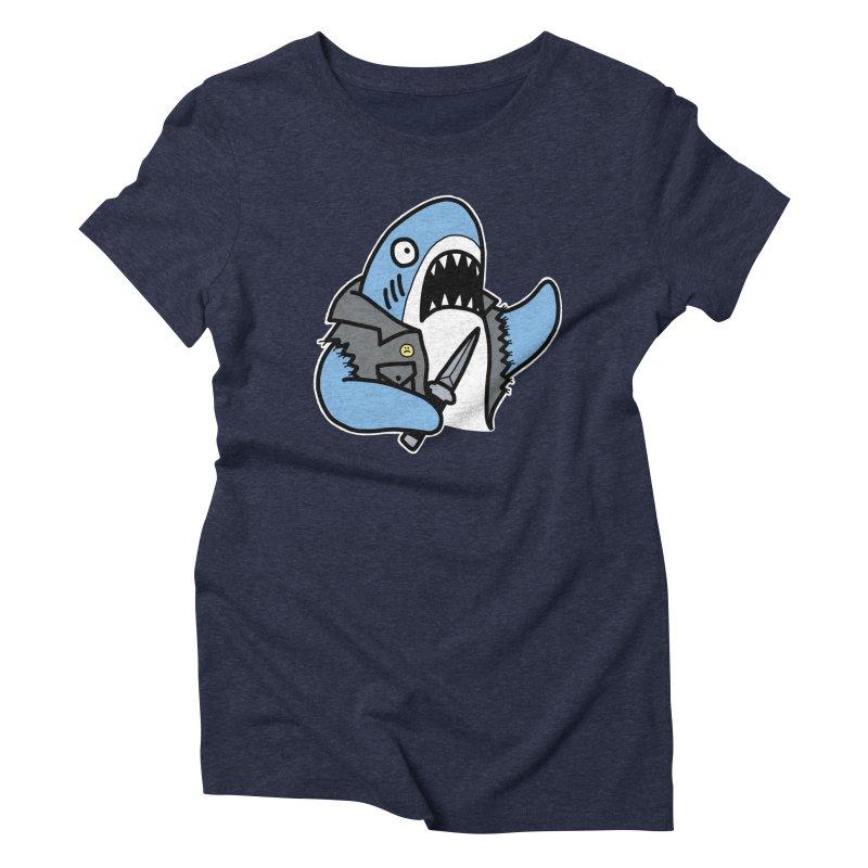 STAB SHARK BLUE Women's Triblend T-Shirt by Tittybats's Artist Shop