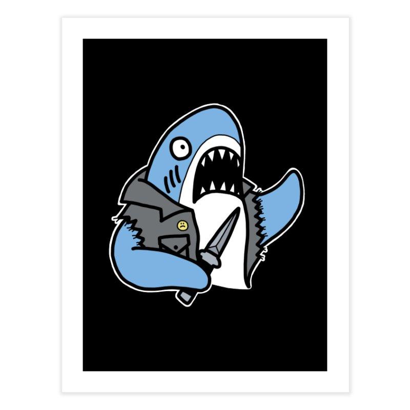 STAB SHARK BLUE Home Fine Art Print by Tittybats's Artist Shop