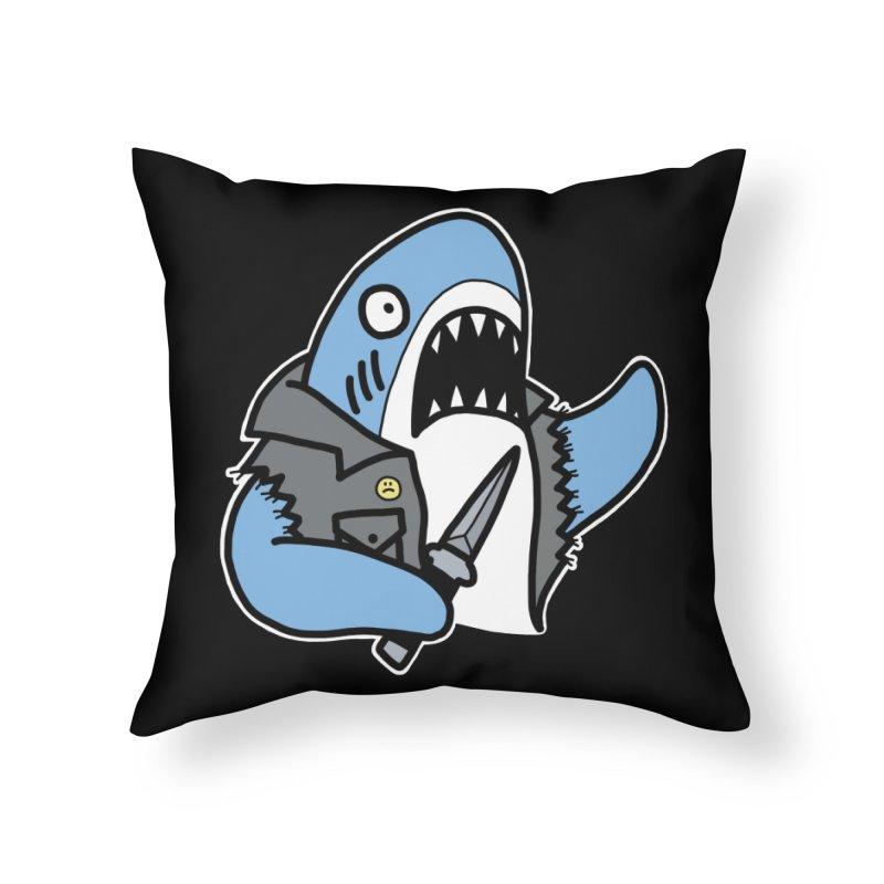 STAB SHARK BLUE Home Throw Pillow by Tittybats's Artist Shop