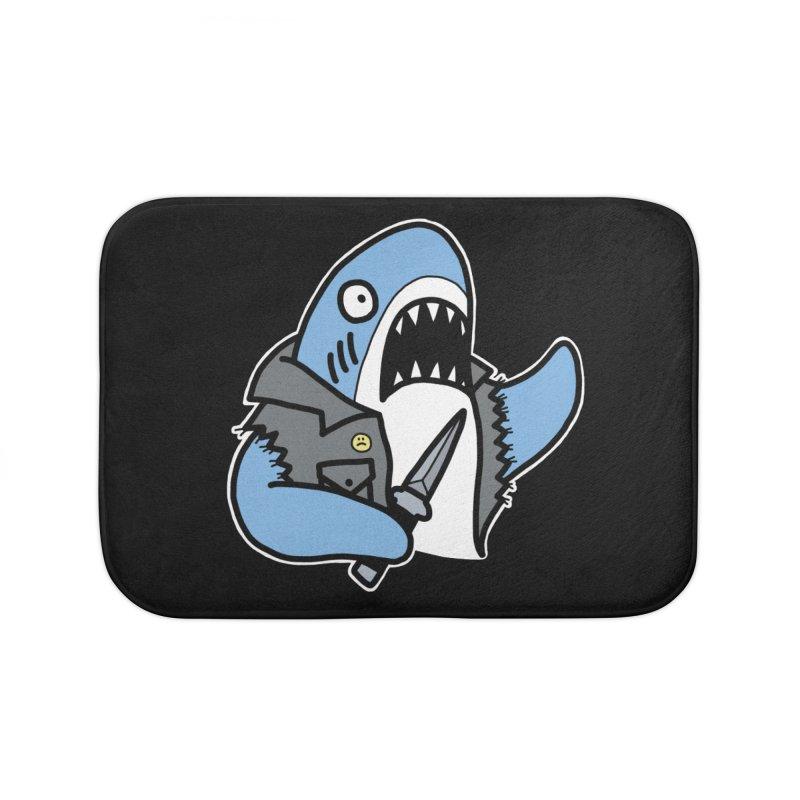 STAB SHARK BLUE Home Bath Mat by Tittybats's Artist Shop
