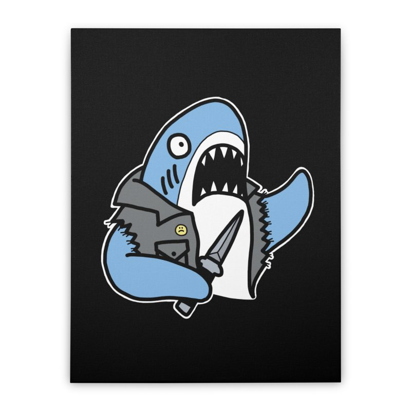 STAB SHARK BLUE Home Stretched Canvas by Tittybats's Artist Shop