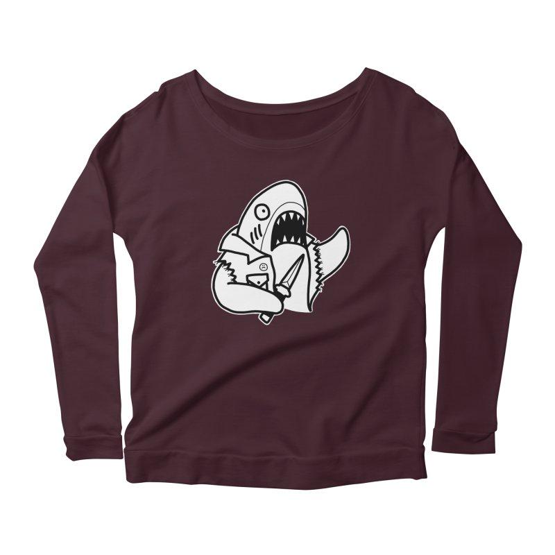 STAB SHARK Women's Scoop Neck Longsleeve T-Shirt by Tittybats's Artist Shop