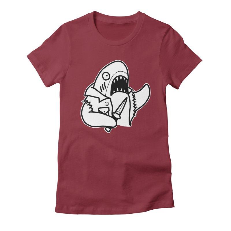 STAB SHARK Women's Fitted T-Shirt by Tittybats's Artist Shop
