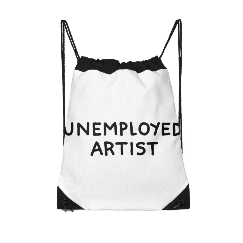 UNEMPLOYED ARTIST black Accessories Drawstring Bag Bag by Tittybats
