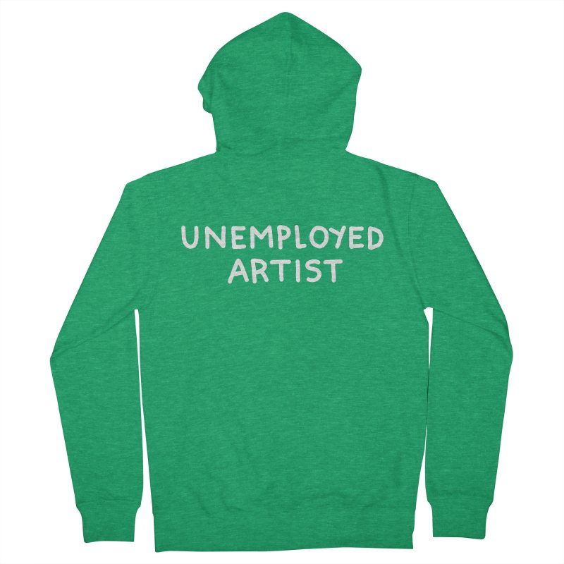 UNEMPLOYED ARTIST white Women's French Terry Zip-Up Hoody by Tittybats