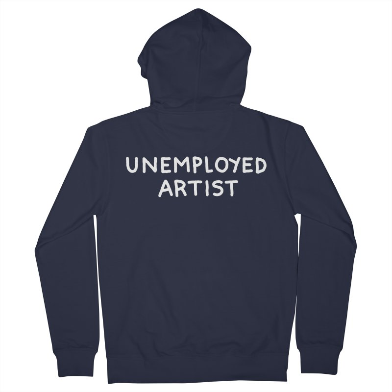 UNEMPLOYED ARTIST white Men's French Terry Zip-Up Hoody by Tittybats
