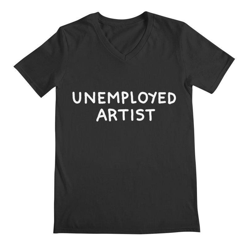 UNEMPLOYED ARTIST white Men's Regular V-Neck by Tittybats
