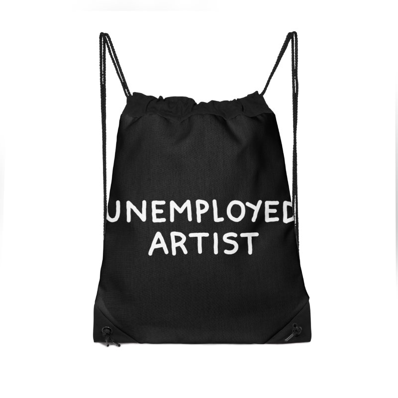 UNEMPLOYED ARTIST white Accessories Drawstring Bag Bag by Tittybats