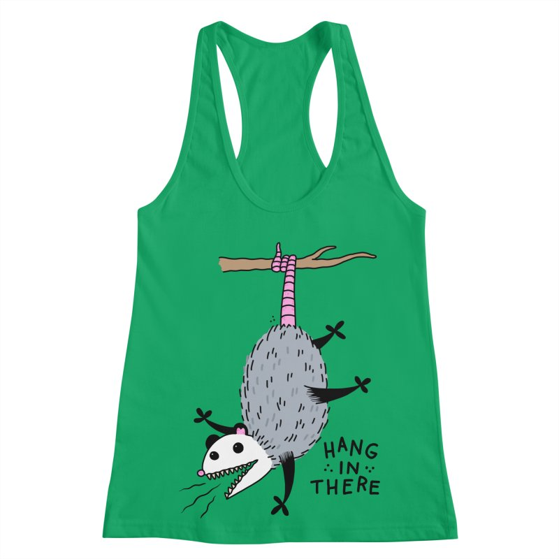 HANG IN THERE POSSUM Women's Racerback Tank by Tittybats