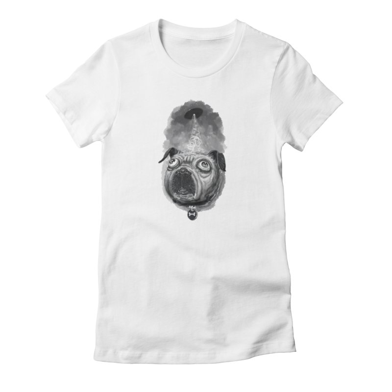 i want to pug-leave in Women's Fitted T-Shirt White by Toadhouse Editions
