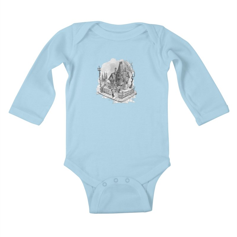 ghost house Kids Baby Longsleeve Bodysuit by Toadhouse Editions