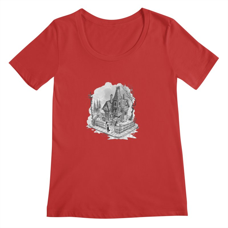ghost house Women's Regular Scoop Neck by Toadhouse Editions