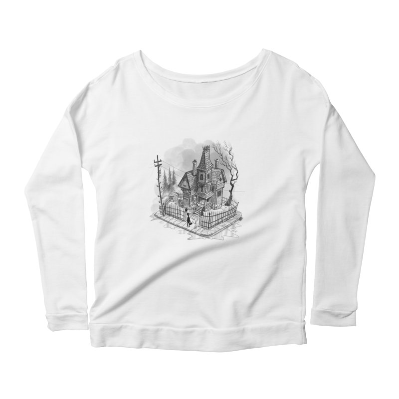 ghost house Women's Scoop Neck Longsleeve T-Shirt by Toadhouse Editions