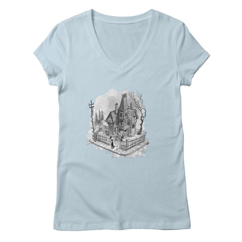 ghost house Women's Regular V-Neck by Toadhouse Editions