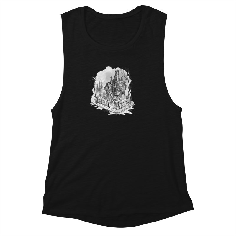 ghost house Women's Muscle Tank by Toadhouse Editions