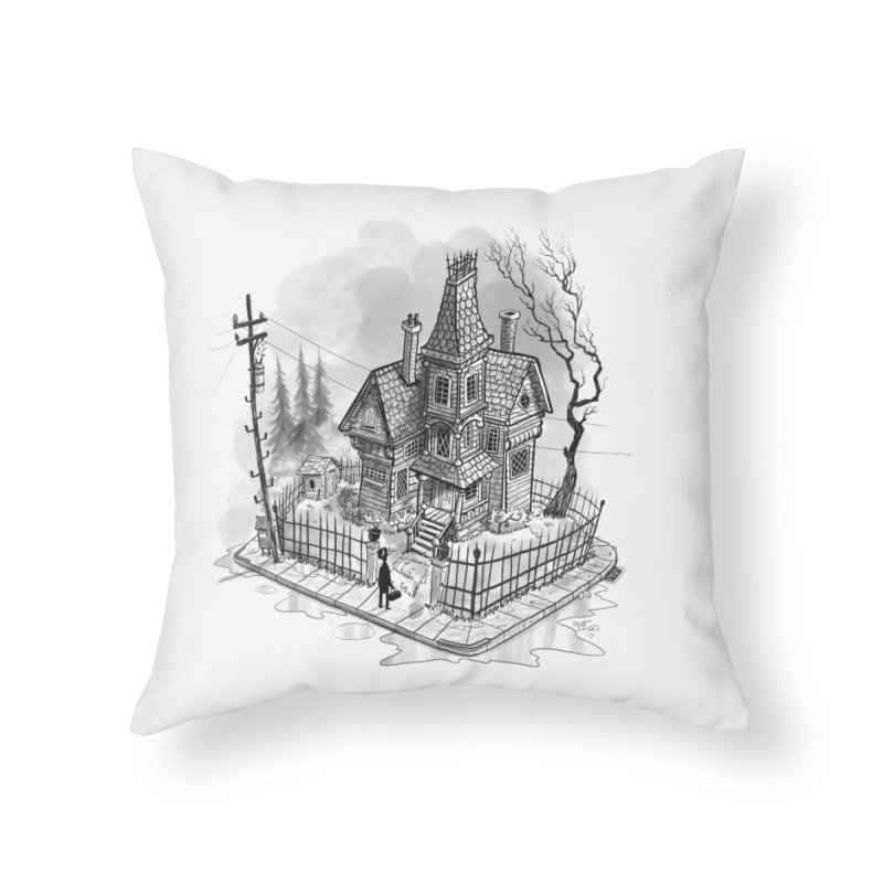 ghost house Home Throw Pillow by Toadhouse Editions