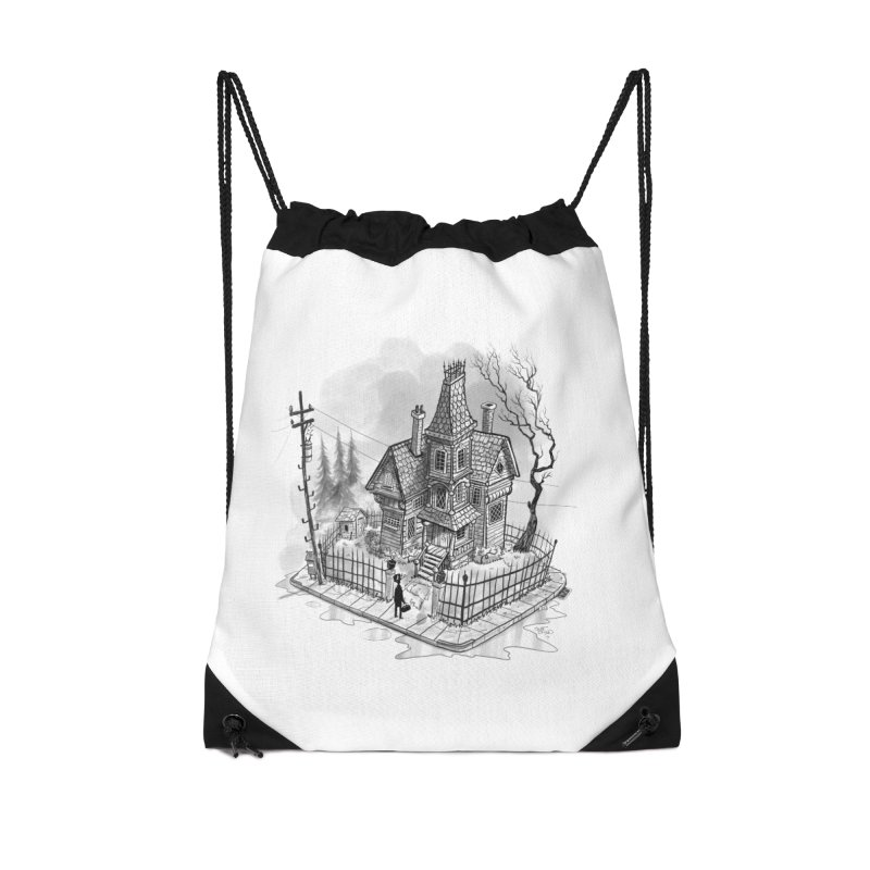 ghost house Accessories Drawstring Bag Bag by Toadhouse Editions