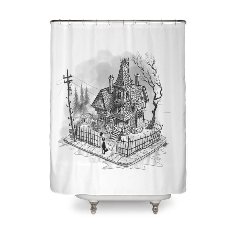 ghost house Home Shower Curtain by Toadhouse Editions