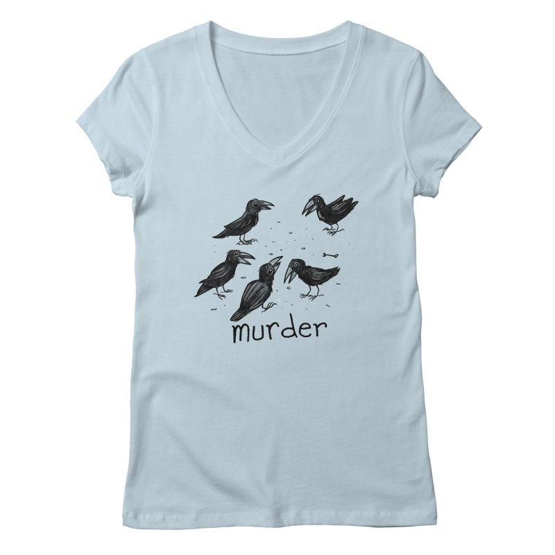 murder of crows Women's Regular V-Neck by Toadhouse Editions