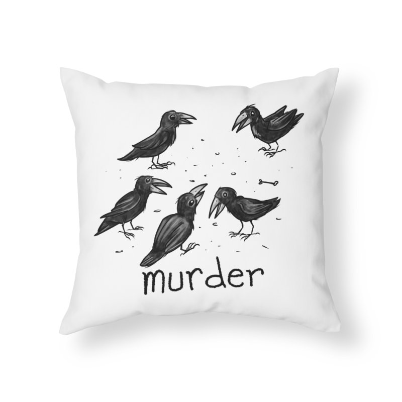 murder of crows Home Throw Pillow by Toadhouse Editions