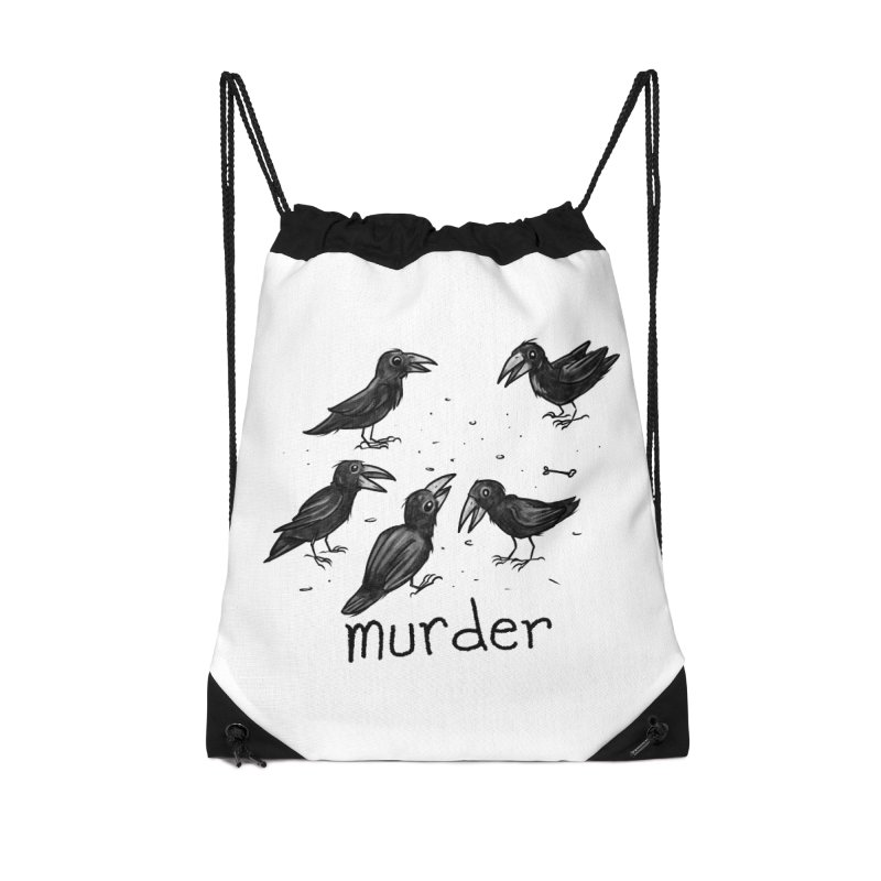 murder of crows Accessories Drawstring Bag Bag by Toadhouse Editions