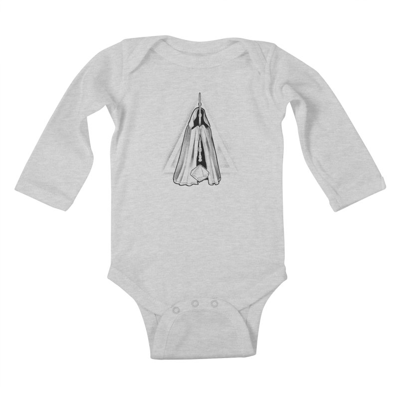 Wand, Cloak, and Stone Kids Baby Longsleeve Bodysuit by Toadhouse Editions