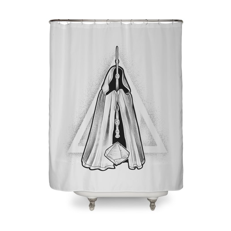 Wand, Cloak, and Stone Home Shower Curtain by Toadhouse Editions