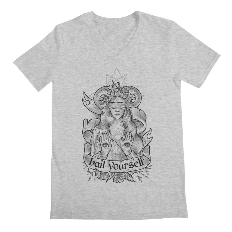Hail Yourself! Men's Regular V-Neck by Toadhouse Editions